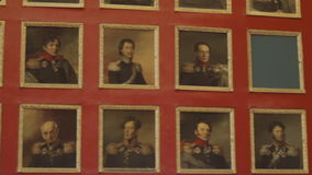 The texture of the portraits of generals stock video footage
