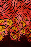 Texture of print fabric striped leopard and flower for background. Materials for print and the background royalty free stock image