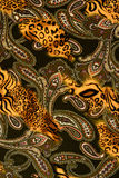 Texture of print fabric striped leopard and flower for backgroun Stock Photo