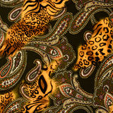 Texture of print fabric striped leopard and flower for background. Materials for print and the background stock photos