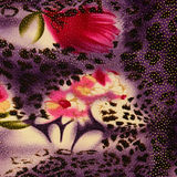 Texture of print fabric striped leopard and flower for background. Materials for print and the background stock photography