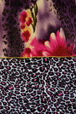 Texture of print fabric striped leopard and flower for background. Materials for print and the background royalty free stock photo