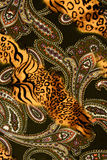 Texture of print fabric striped leopard and flower for backgroun Royalty Free Stock Photography
