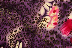 Texture of print fabric striped leopard and flower for background. Materials for print and the background stock photo