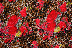 Texture of print fabric striped leopard. And flower for background stock photos