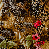 Texture of print fabric striped leopard. And flower for background royalty free stock photography