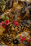 Texture of print fabric striped leopard. And flower for background royalty free stock images
