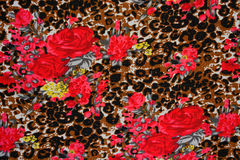 Texture of print fabric striped leopard. And flower for background stock image