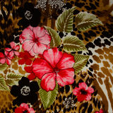 Texture of print fabric striped leopard. And flower for background stock photo