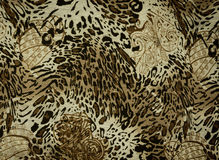 Texture of print fabric striped leopard and flower Royalty Free Stock Image