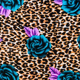 Texture of print fabric striped leopard and flower Royalty Free Stock Images