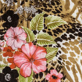 Texture of print fabric striped leopard and flower Stock Photography