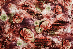 Texture of print fabric striped leopard and flower. For background royalty free stock images