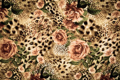 Texture of print fabric striped leopard. And flower for background stock photography