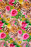 Texture of print fabric striped leopard. And flower for background royalty free stock photos