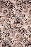 Texture of print fabric striped leopard. And flower for background stock images