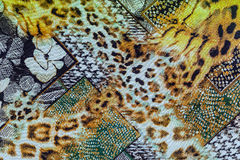 Texture of print fabric striped leopard and flower Stock Photos