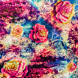 Texture of print fabric striped leopard and flower Stock Images
