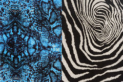 Texture of print fabric striped snake leather and zebra Stock Photography