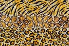 Texture of print fabric stripes tiger and snake leather. For background stock images