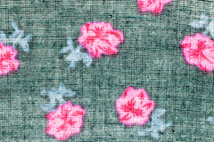 Texture,print and wale of fabric black and pink flowers pattern Stock Image