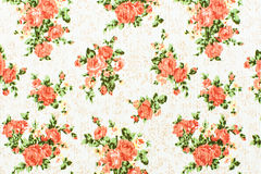 Texture, print and wale of fabric orange flowers pattern Royalty Free Stock Photos