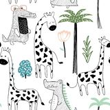 Texture puérile de jungle avec la girafe, le crocodile et les éléments tropicaux Configuration sans joint Illustration de vecteur illustration stock