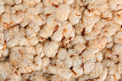 Texture of puffed corn galettes. The macro shot of  puffed corn galettes Royalty Free Stock Images