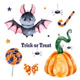 Texture with pumpkin, candy, muffin, skull, spider and bow. Cute watercolor Halloween set. Texture with pumpkin, candy, muffin, skull, spider and bow vector illustration