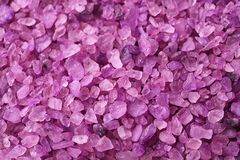 Texture of purple sea salt, closeup stock images