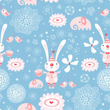 Texture rabbits. Seamless pattern from the funny rabbits on a decorative background Royalty Free Stock Images