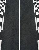 Texture of race asphalt and chess curb Grand Prix circuit Stock Images