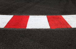 Texture of race asphalt and curb on Grand Prix circuit Stock Photos