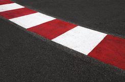 Texture of race asphalt and curb Grand Prix circuit Royalty Free Stock Images