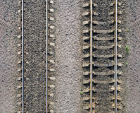 Texture of railway tracks on gravel Stock Photo