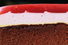 Texture of Raspberry Mousse with Chocolate Sponge Layer Cake, Closed up Royalty Free Stock Images