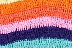 Texture rayée colorée multi à crochet de tissu Photo stock