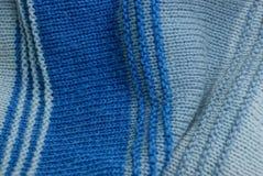 Texture rayée de laine de gris bleu de chandail Photographie stock libre de droits