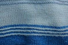 Texture rayée de laine de gris bleu de chandail Photographie stock