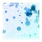 Texture rectangulaire de fond de cadre d'aquarelle tirée par la main bleue froide avec des taches photos stock