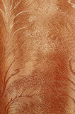 Texture of red and beige satin patterned curtains with folds Royalty Free Stock Photography