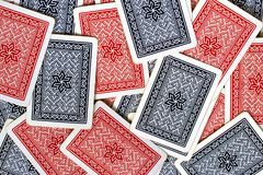 Texture of red and blue playing cards back Royalty Free Stock Photos