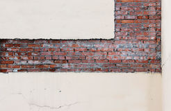 Texture red brick and pink plaster, which is treated in a strictly geometric form for further repairs.  stock image