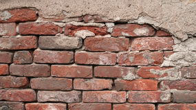 Texture of red brick wall cracked Royalty Free Stock Images