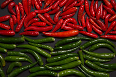 Texture of red and green bird eye chili pepper Stock Images