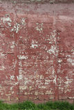 Texture red painted wall with grass. Texture red painted shabby wall with grass Stock Image
