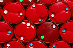 Texture red plastic oil tank. Royalty Free Stock Images