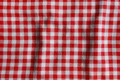 Texture of a red and white checkered picnic blanket. Royalty Free Stock Images