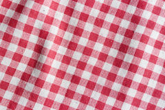Texture of a red and white checkered tablecloth. Stock Image