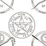 Texture with a repetitive pentacle pattern. Occult background. T Royalty Free Stock Photography